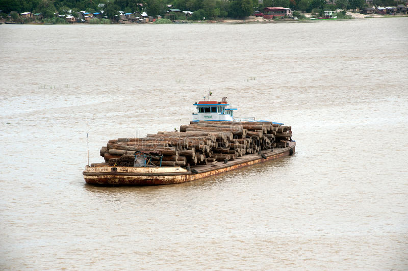 teak-logs-timber-boat-ayeyarwady-river-myanmar-sagaing-july-ayeyarwaddy-july-sagaing-central-46394094