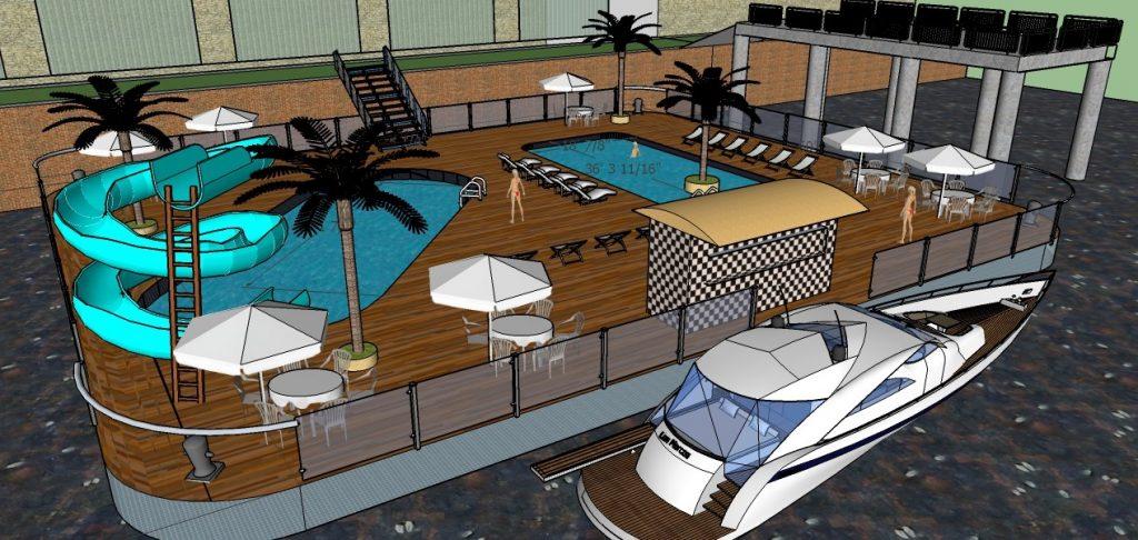 disegno di piscine galleggianti